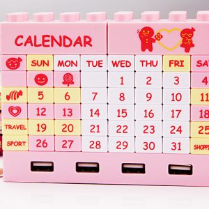 4-Ports-Building-Blocks-USB-Hub-DIY-Puzzle-Perpetual-Calendar-Free-shipping-4-Colors-Optional