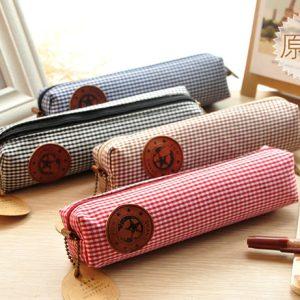 New-vintage-check-pattern-pencil-bag-pencil-pouch-pen-bag-cotton-bag-wholesale-Free-shipping